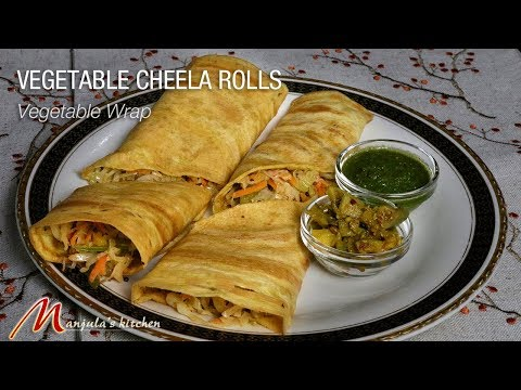 Vegetable Cheela Rolls (vegan and gluten free wraps) Recipe by Manjula