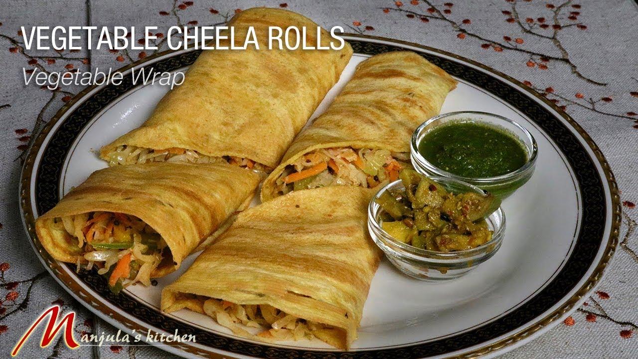 Vegetable Cheela Rolls (vegan and gluten free wraps) Recipe by Manjula