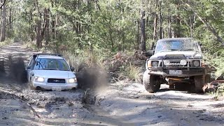 Subaru destroys 'real 4wds' in mud pit