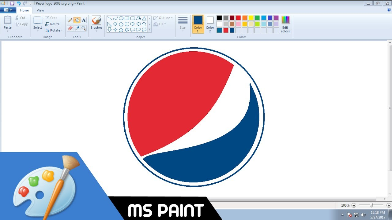 How To Draw Pepsi Logo In Ms Paint From Scratch Youtube