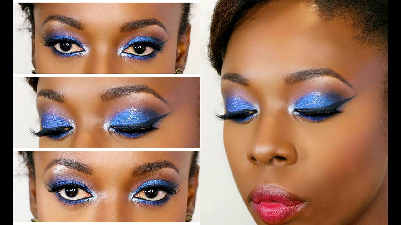 Blue Silver Glitter Smokey Eye Makeup Tutorial Youtube