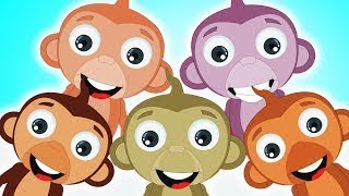 Five Little Monkeys Jumping On The Bed | Nursery Rhymes For Kids by HooplaKidz