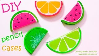 DIY Pencil Cases FRUITS (Watermelon, Lemon, Kiwifruit) – NO SEW DIY School Supplies thumbnail