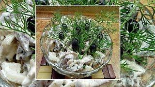 Салат с легкими и грибами  Простые салаты