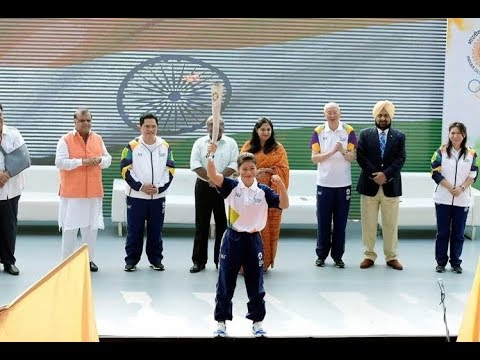 The Asian Games 2018 Torch Relay From Major Dhyan Chand Stadium
