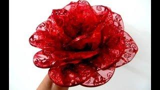 Moños Flores Rosas Rojas En Cintas De Organza Escarchada Youtube