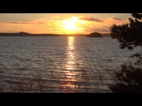 Gentle waves - sound of Saimaa  - with  4K ULTRA HD sunset - for relaxing