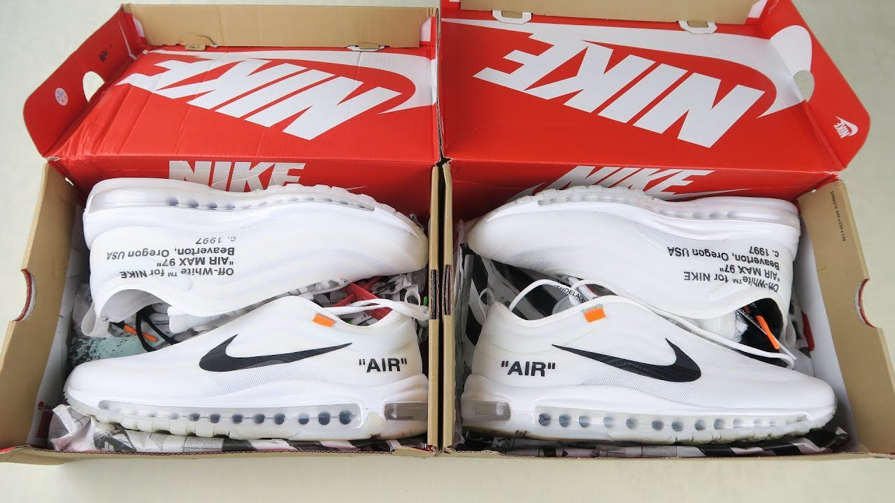 new style 9902b fa06b How to spot Replica Nike Off White Air Max 97   Real vs Fake Off White Nike  sneakers review guide
