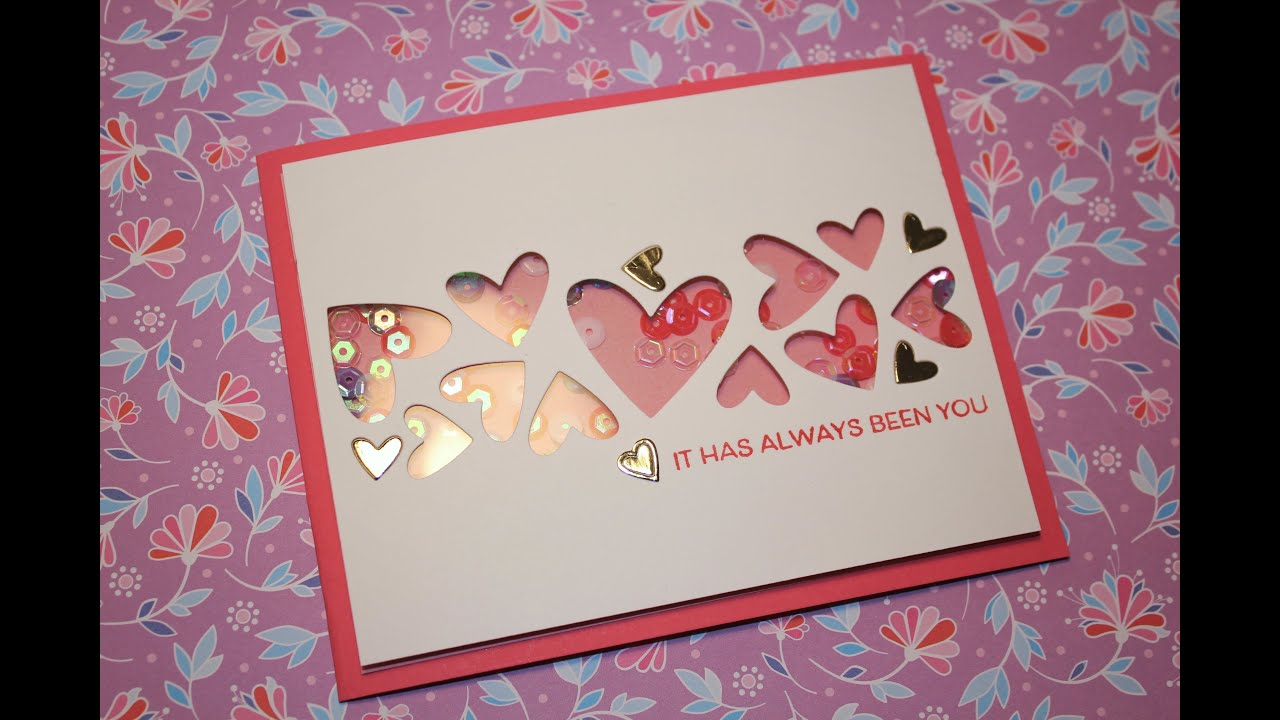 Valentines Day Card 6 Simple CAS Shaker Card YouTube
