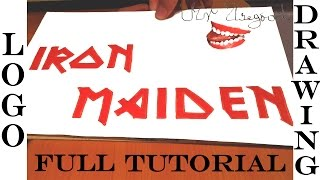DRAWING TUTORIAL-FULL: How to Draw IRON MAIDEN Logo Step by Step EASY, for Beginners on paper