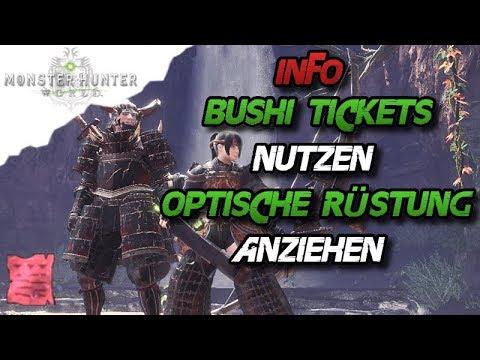 Monster Hunter World Info Bushi Ticket Nutzen Optische Rüstung