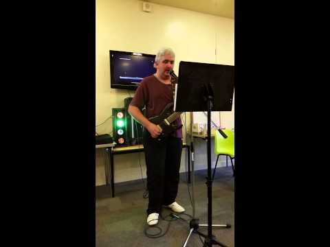 Brendan doing karaoke at community centre