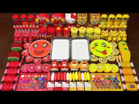 RED VS YELLOW | ASMR SLIME | Mixing Random Things Into GLOSSY Slime | Satisfying Slime Videos #1611