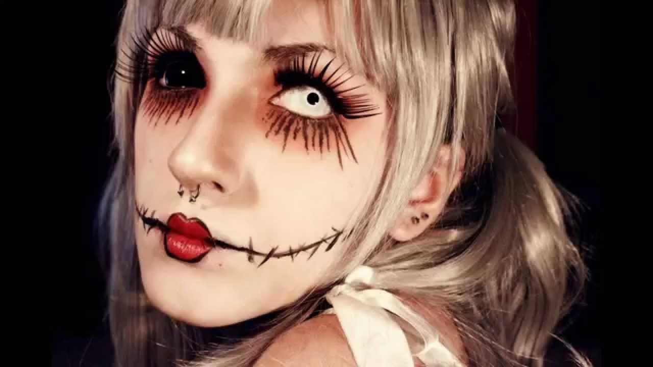 Fabuloso Maquiagem de Halloween Boneca Costurada Passo a Passo - YouTube RZ68