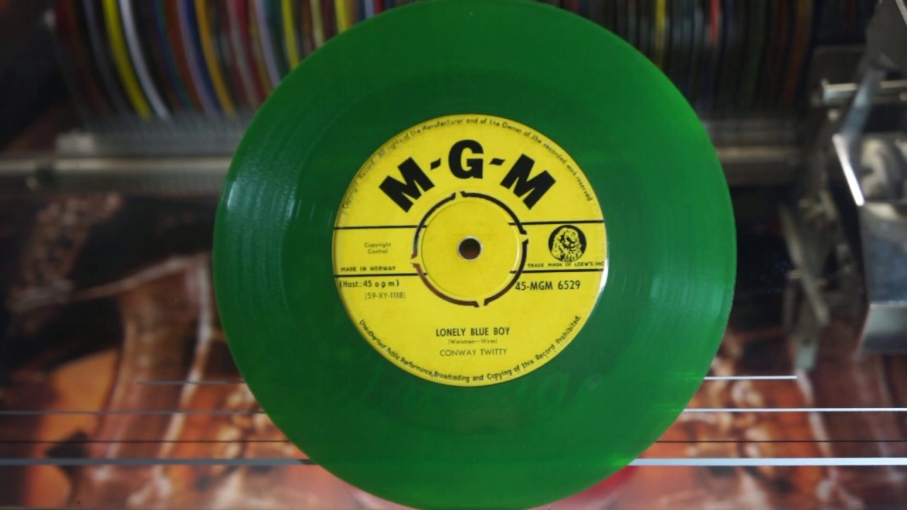 Jonnie's Jukebox Plays: Lonely Blue Boy - Conway Twitty 1960 Trans Green 45rpm Record