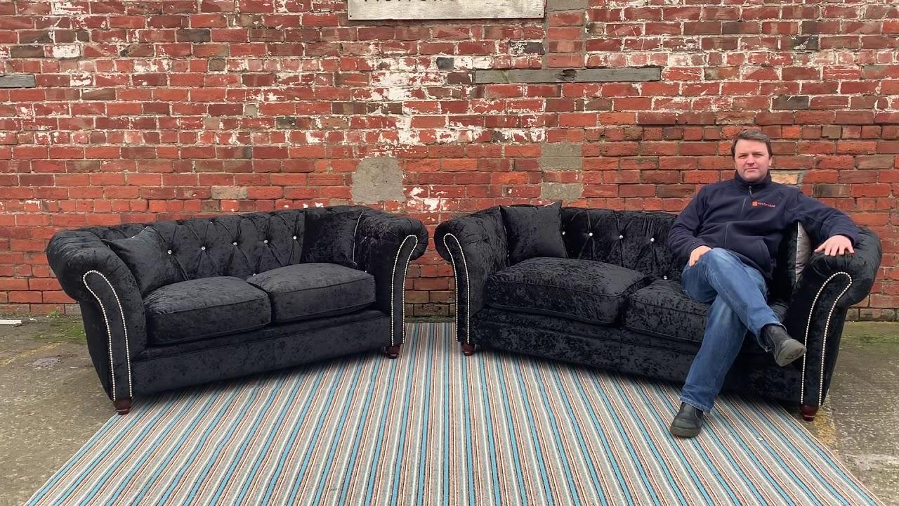 Black Crushed Velvet Sofa You