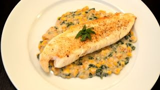 Seared Tilapia fish with corn basil sauce
