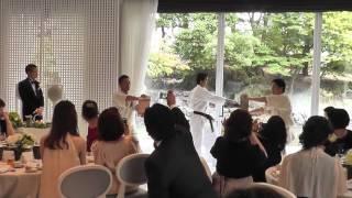 後輩の結婚披露宴にて空手の演武を披露しました。