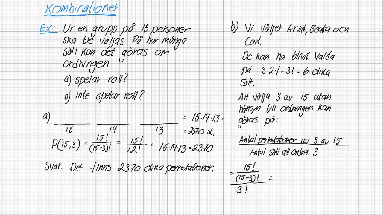 Diskret matematik 3 - Kombinationer