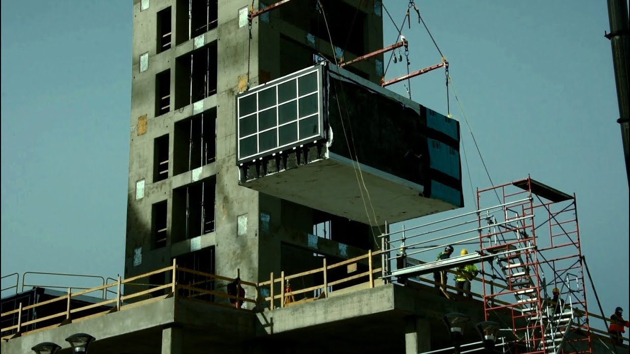 Modular construction at the ALT Hotel in Calgary's East Village