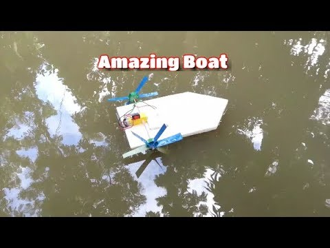 How to make a boat - Home made DC motor boat - Amazing idea