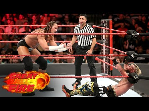 Big Cass launches Enzo Amore over the top rope to the floor: WWE Great Balls of Fire 2017