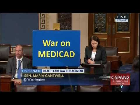 "Maria Cantwell rips 'War on Medicad"" with misspelled sign on Senate floor"
