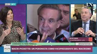 Macri-Pichetto: La reacción de Julio Cobos a la fórmula de Cambiemos
