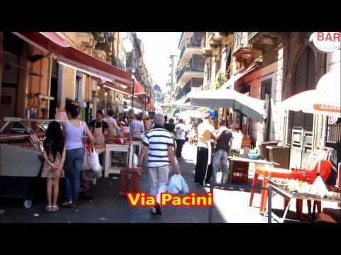 Catania: Open-market and Church in Carlo Alberto square.