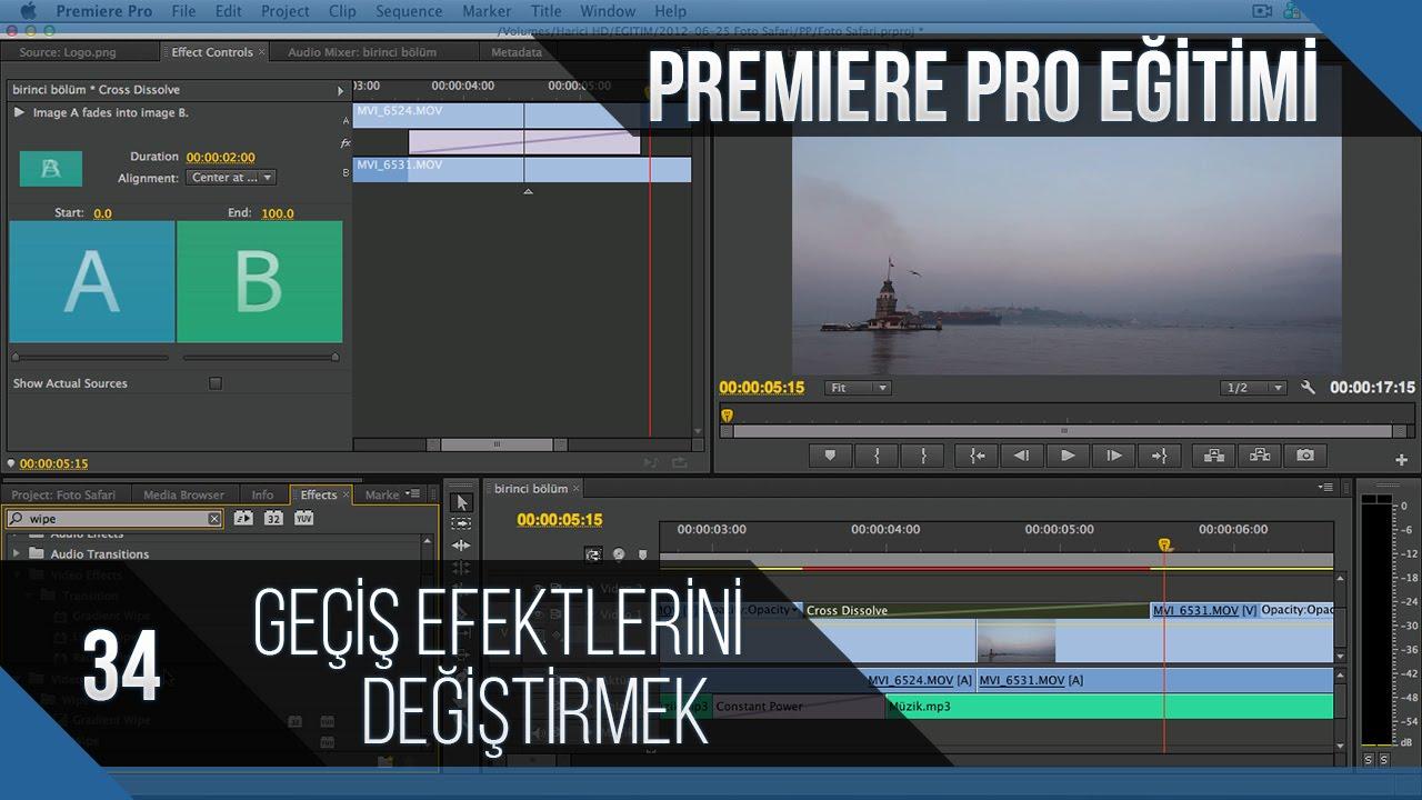 Premiere Pro Eğitimi 34 - Geçiş efektlerini değiştirmek