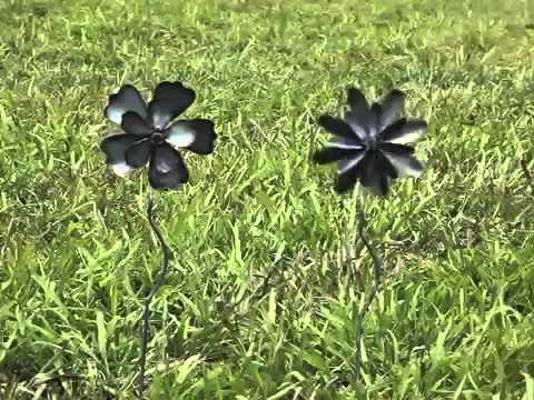 Metal Flower Garden Wind Spinners - Plow & Hearth - YouTube