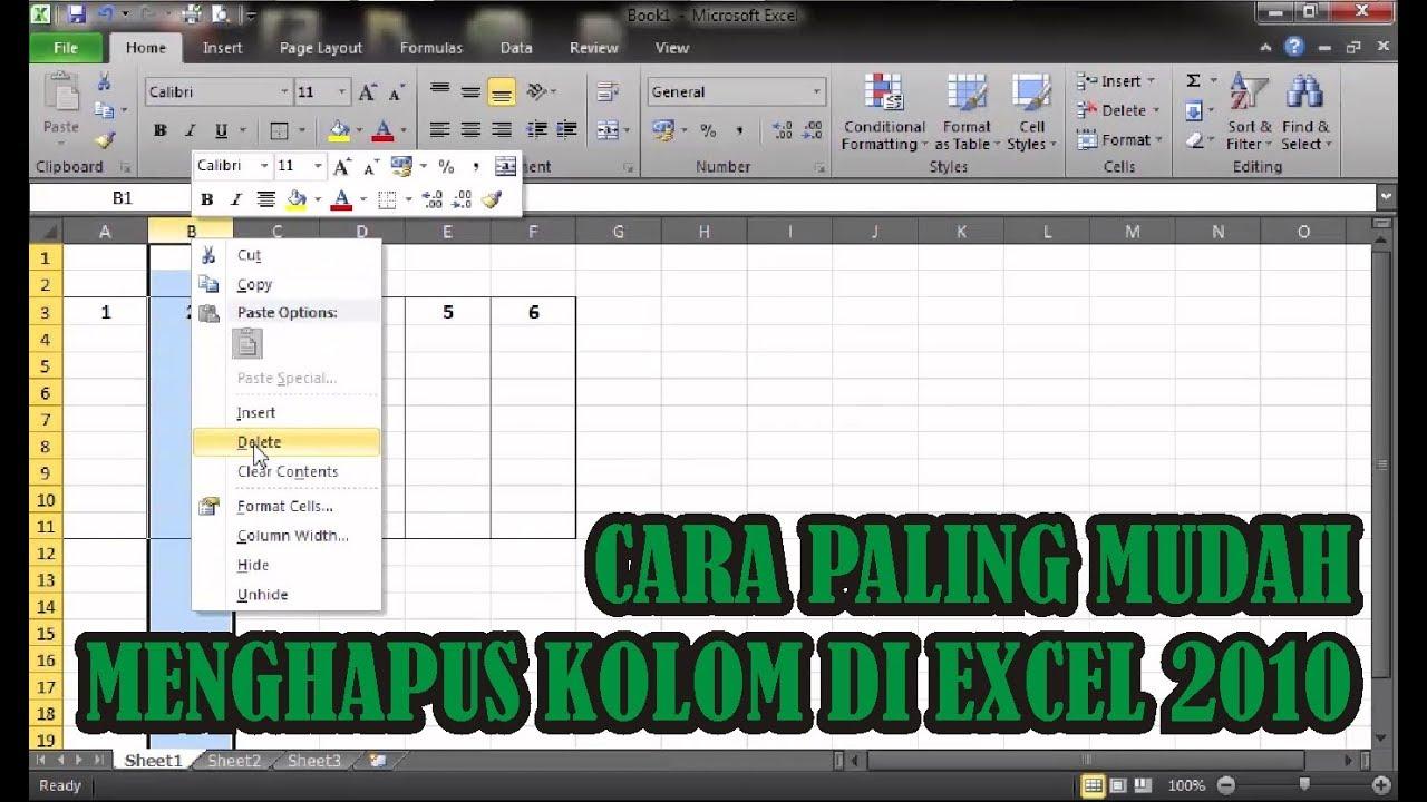 【Tutorial】 Cara Mudah Menghapus Kolom di Excel • Simple ...
