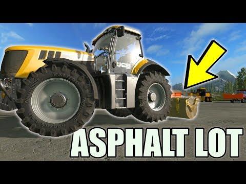 CONSTRUCTING PARKING LOT | ASPHALT | STEAM ROLLER | FARMING SIMULATOR 2017 thumbnail