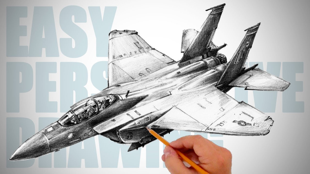 How To Draw Jet Fighter Aircraft F 15 Easy Perspective Drawing
