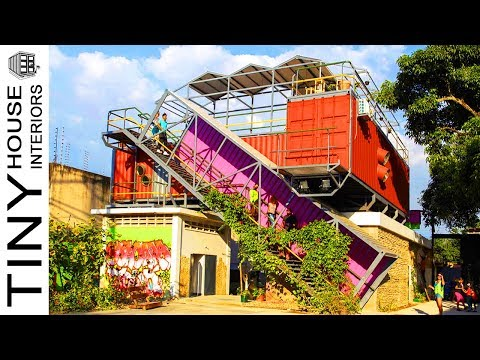 Stacked shipping containers transform into a thriving arts space in Venezuela | Tiny House Interiors