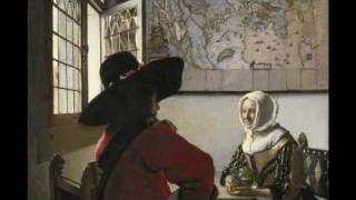 "Johannes  Vermeer, ""Officer and Laughing Girl"""