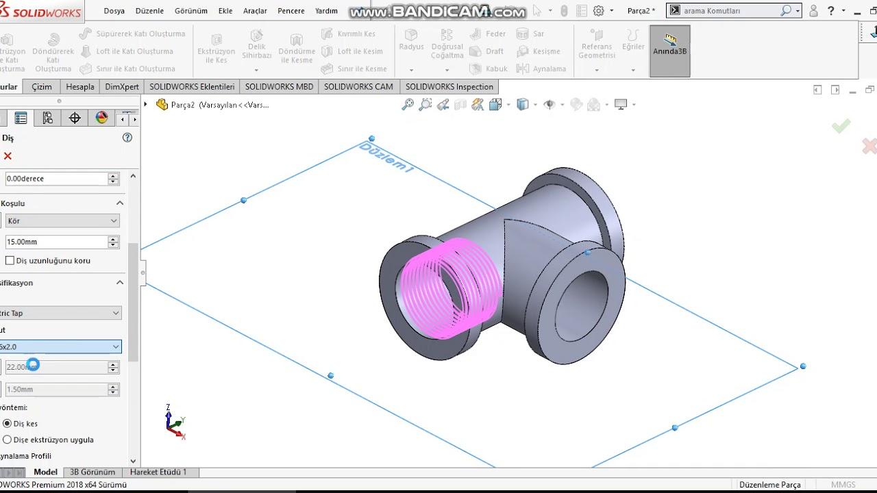 SolidWorks Tutorial Modeling Y Elbow Pipe Y Bend