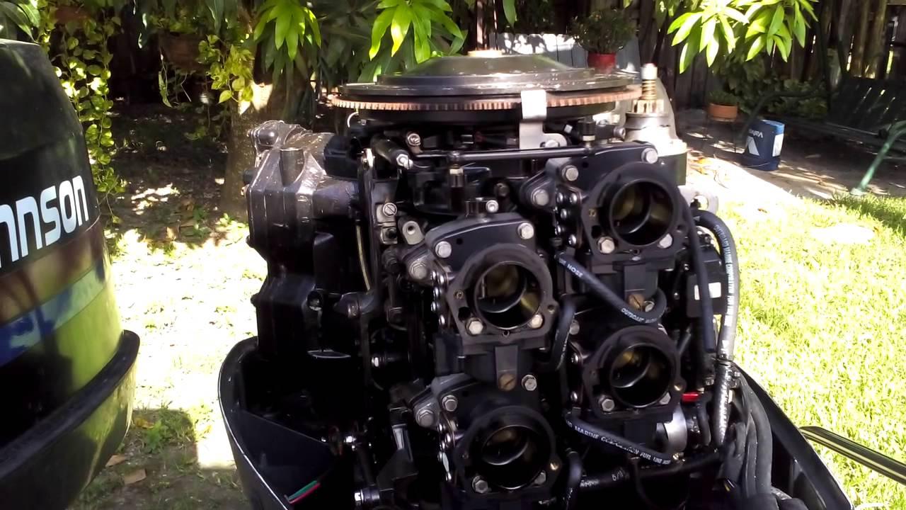 Johnson v4 140 hp carburetor idler adjust  YouTube