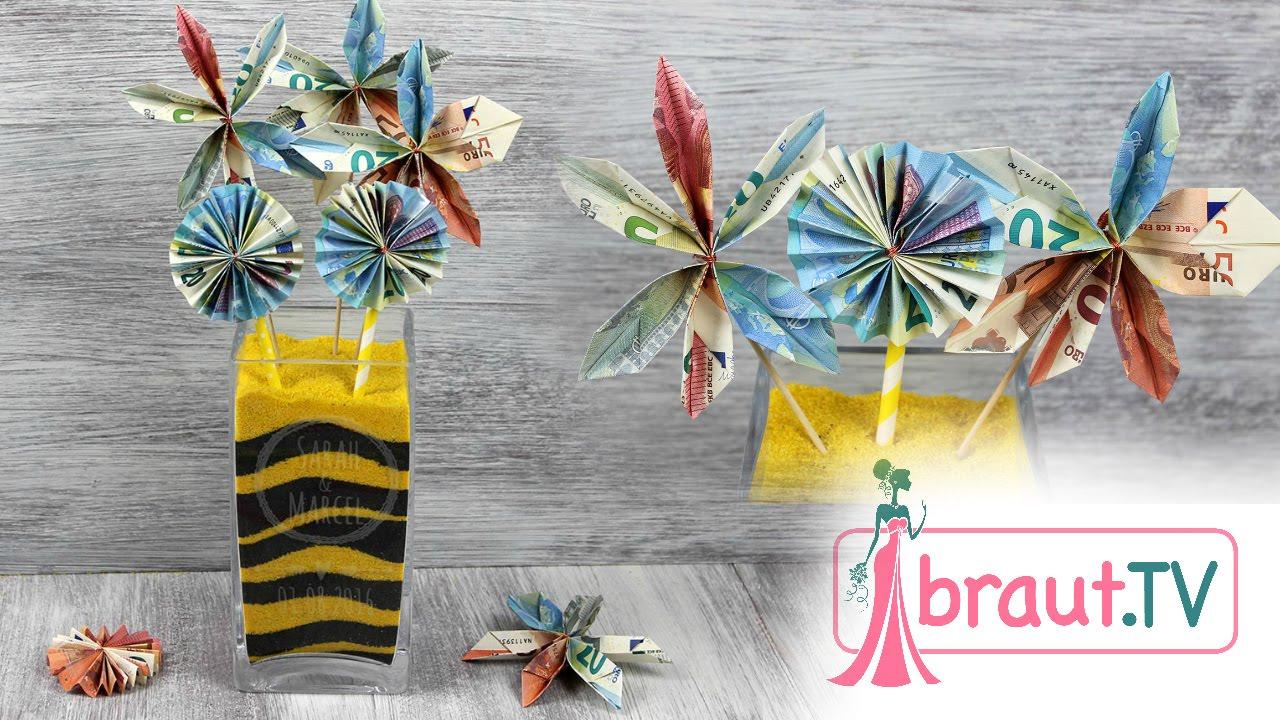 Geldblumen Geldgeschenk Idee Zur Hochzeit Personalisierte Vase