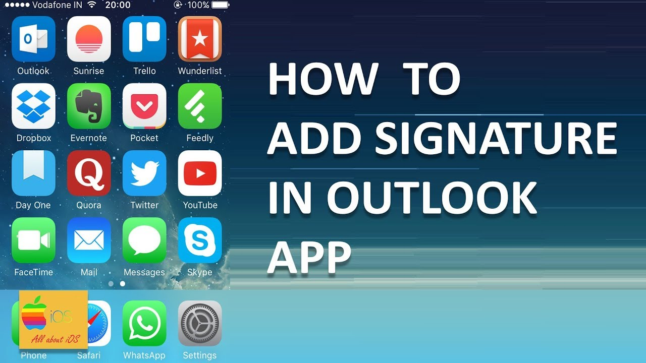 How to add signature in outlook app in your iPhone - YouTube