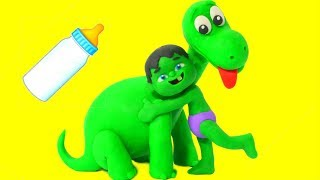 BABY HULK MEETS DINOSAUR BABY  ❤ Frozen Elsa & Superhero Babies Play Doh Cartoons For Kids
