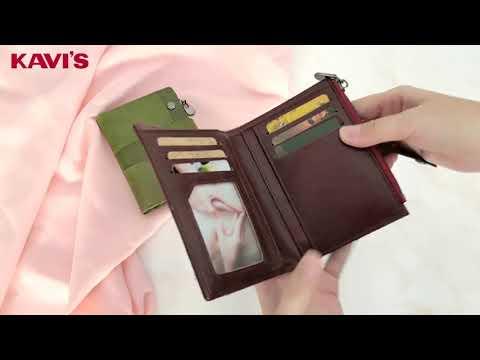 Женское портмоне из натуральной кожи Kavis бордовое