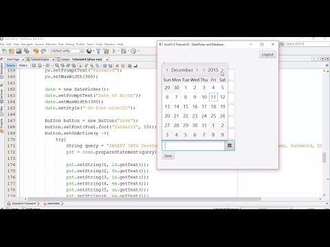 JavaFX 8 Tutorial 20 - DatePicker and Database (how to save date into database)