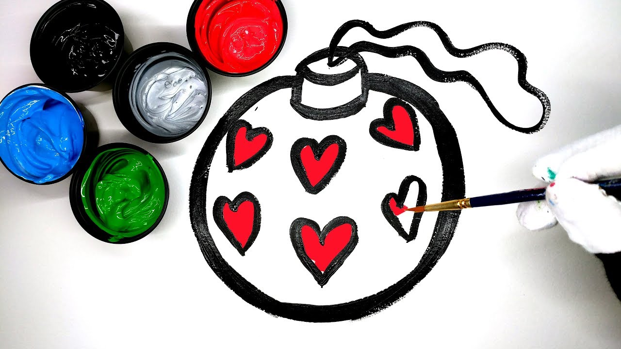 drawing christmas ornament and learn colors with tree snowman and