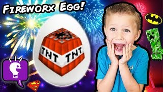 World's Biggest FIREWORKS Surprise Egg MAN! Toy Popper Explosions + TNT HobbyKidsTV(This idea created by HobbyKidsTV. Party popper toy fun! Explodes and shoots out surprise toys like Minecraft, pop its and more. HobbyDad plays the world's ..., 2016-07-02T10:00:02.000Z)