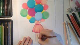 Speed Drawing - A Girl With Balloons