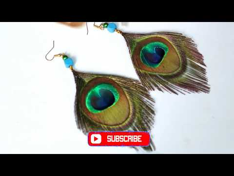 How to Make Peacock Feather Earring At home| Making new design earring from peacock feather