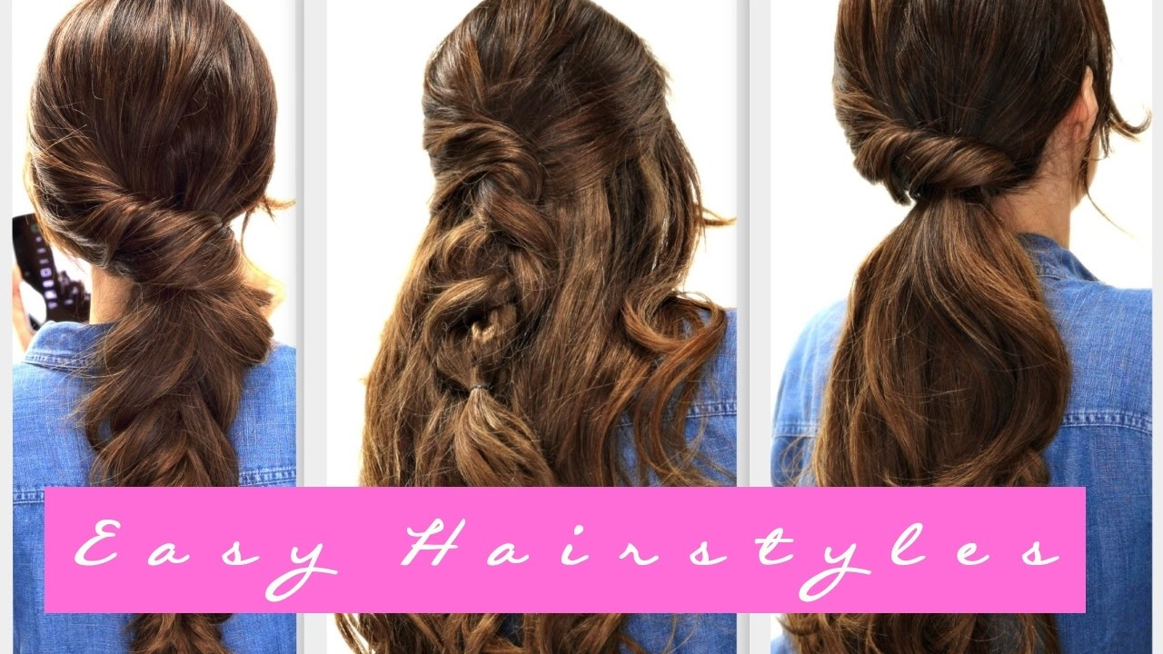 4 Easy Lazy Hairstyles Fall Hairstyle For Medium Long Hair Youtube