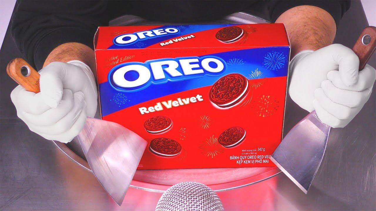 OREO Red Velvet - Ice Cream Rolls | ASMR