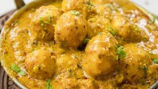 Shahi Aloo dum Recipe | Indian Restaurant Style Kashmiri Shahi Baby Potato Curry Recipes